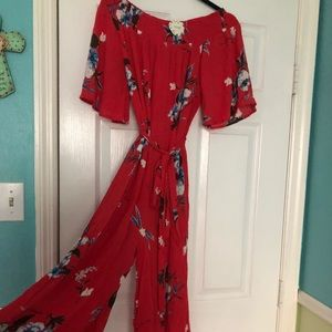 NWT OTS red floral jumpsuit